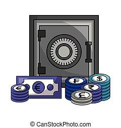 קופסה, כסף, כספת, מטבעות