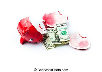 קופסה, כסף, מטבעות, הפרד, שבור, חזרזיר, לבן, או, סמוך