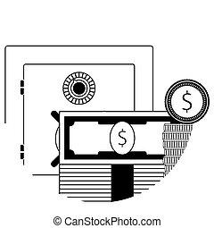 קופסה, כסף, פיקדון בטוח, קו, איקון