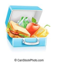 קופסה, מיץ, כריך, תפוח עץ, ארוחת צהרים