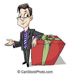 קופסה, עסק, מתנה, איש