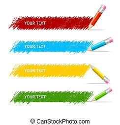 קופסה, עפרונות, וקטור, צבעוני, טקסט