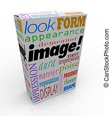קופסה, רושם, מוצר, מילה, ארוז, דמות, הופעה, ראשון