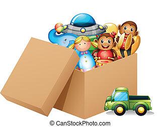 קופסה, שונה, מלא, צעצועים
