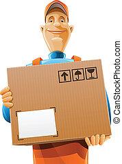 קופסה של משלוח, שרת, איש