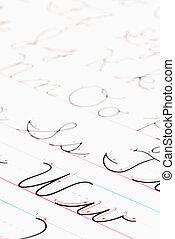 קורסיב, practice., לכתוב