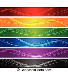 קו, מתולתל, דגלים, צבעוני