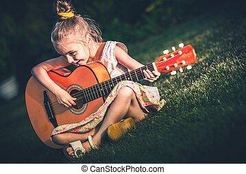קטן, גיטרה משחקת, ילדה