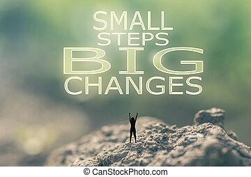 קטן, השתנה, צעדים, גדול