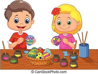 קטן, חג הפסחה, לצבוע, ציור היתולי, ילדים