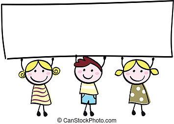 קטן, להחזיק, דגל, שמח, ריק, חמוד, -, בחור, ילדות, טופס, ציור היתולי, illustration.