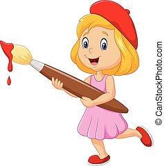 קטן, לצבוע, ילדה, paintbrus