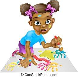 קטן, ציור היתולי, ילדה, לצבוע