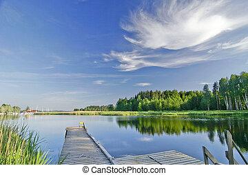 קיץ, בהיר, שמיים, אגם, דממה, מתחת