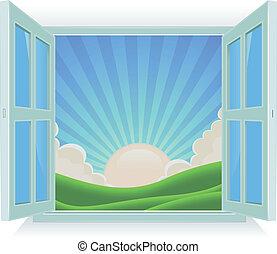 קיץ, בחוץ, חלון, נוף
