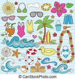 קיץ, החף, הוואיאני, doodles