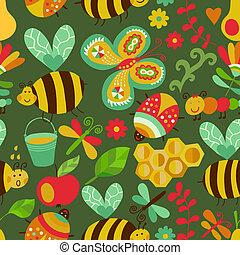 קיץ, יערה, התמלא, זה, התגלה, template., design., רשת, השתמש, תבנית של מארג, pattern., seamless, flowers., רקע, תרכובת, דבורות, טקסטורות, פרחוני, נייר, עמוד, וקטור, או, רקע