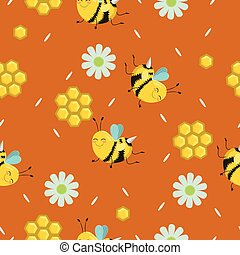 קיץ, צבע, התמלא, זה, התגלה, יערות, design., רשת, השתמש, תבנית של מארג, pattern., seamless, flowers., רקע, טקסטורה, תרכובת, דבורות, רקע, נייר, או, וקטור, עמוד