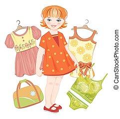 קיץ, קבע, זנגביל, שקית, ילדה, בגדים