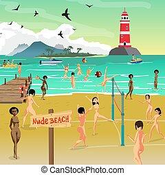 קיץ, שחק, החף., להשתזף, דירה, volleyball., ערום, צעיר, דוגמה, ערום, חול, וקטור, ים, ציור היתולי, נוף, נשים