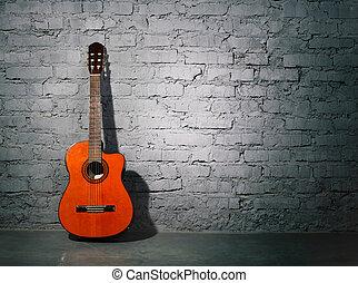קיר, גיטרה, אקוסטי, מלוכלך, לסמוך