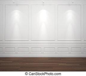 קיר, לבן, spotslight, classis