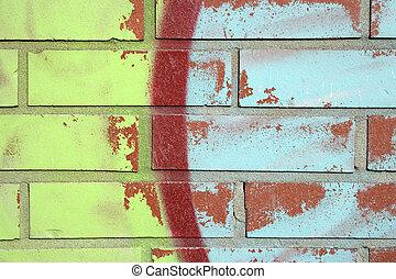 קיר, לבנה, גרפיטי, צבעוני