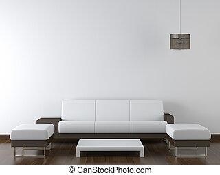 קיר, מודרני, עצב, פנים, לבן, רהיטים