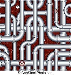 קיר, קו צינורות, לבנה, steamshop, מרתף