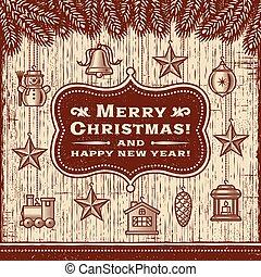 קישוטים, כרטיס, חג המולד, חום, בציר