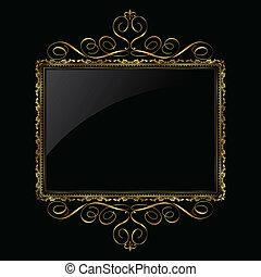 קישוטי, הסגר, שחור, זהב