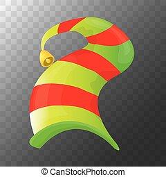 קישוטי, ילדים, צבעוני, התפשט, או, שדון, הפרד, חג המולד, רקע., גיזעי, וקטור, עצב, label., ירוק, שקוף, יסוד, כובע, ציור היתולי, אדום, איקון