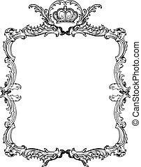 קישוטי, illustration., בציר, וקטור, מקושט, frame.