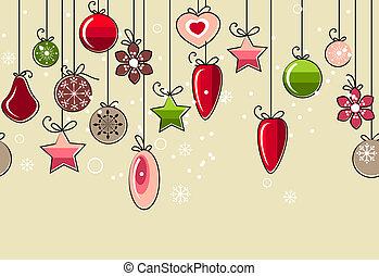 קישוט, תבנית, seamless, חג המולד, לתלות