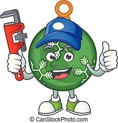 קמיע, כדור, אינסטלטור, ירוק, חג המולד, ציור היתולי