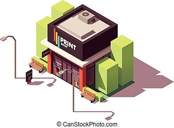 קנה, הדפס, איזומטרי, וקטור, העתק