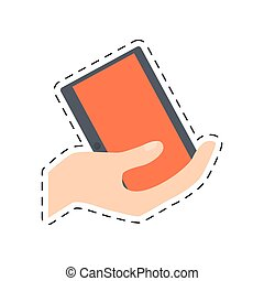 קנה, חתוך, קדור, יד מחזיקה, אונליין, קו, טכנולוגיה