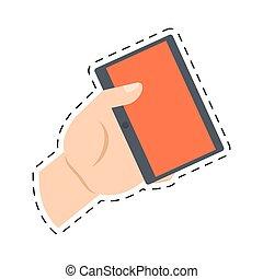 קנה, חתוך, קדור, תקשורת, יד מחזיקה, אונליין, קו