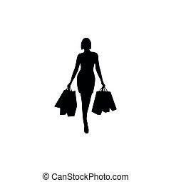 קניות, אישה, צלליות, קבע