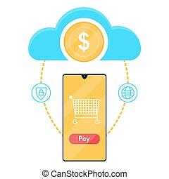 קניות, דירה, טלפן., תשלום, internet., דוגמה, style., וקטור, אונליין
