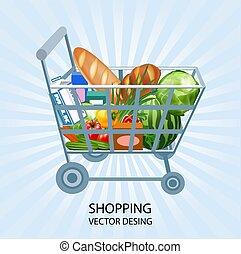 קניות, וקטור, רקע, קניות, עגלה, עסק, מוצרים, הפשטה