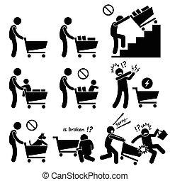 קניות, כוון, עגלה