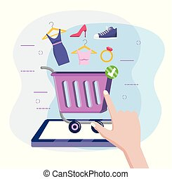 קניות, קדור, מכונית, אונליין, טכנולוגיה, מסחר אלקטרוני