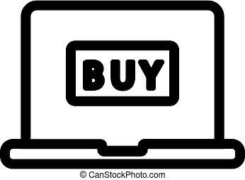 קניות של אינטרנט, מיתאר, הפרד, דוגמה, סמל, vector., איקון