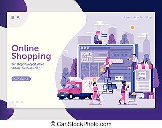 קניות של אינטרנט, עמוד, דפוסית, נחיתה
