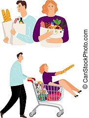 קניות של אישה, עגלה, איש, אנשים