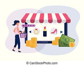 קניות של אישה, קדור, סל, טכנולוגיה, מסחר אלקטרוני