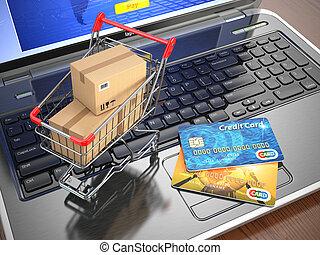 קניות, laptop., עגלה, זכה, e-commerce., כרטיסים