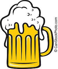 קנקן, ראש גדול, בירה, קציף