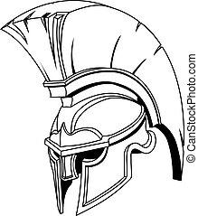 קסדה, או, טרויאני, spartan, יווני, דוגמה, רומאי, gladiator